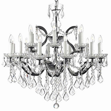 Harrison Lane Rococo Wrought Iron and Crystal 18 Light Chandelier