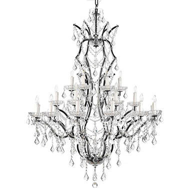 Harrison Lane Rococo Wrought Iron and Crystal 25 Light Chandelier