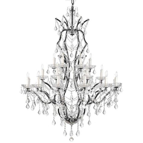 Harrison Lane Baroque Wrought Iron and Crystal 25 Light Chandelier