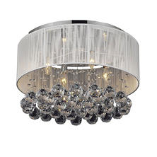 Harrison Lane Flushmount 4 Light Crystal Chrome chandelier with shade