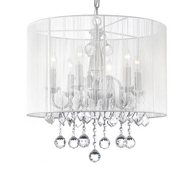 Harrison Lane Chrome Chandelier with faceted Crystal Balls and White Shade