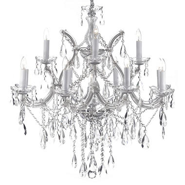 Harrison Lane Maria Theresa 2 Tier Crystal Chandelier Silver