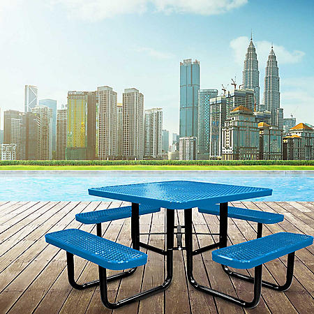 """Leisure Craft 46"""" Square Expanded Metal Table (Various Colors)"""