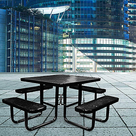 "Leisure Craft 46"" Square Expanded Metal Table (Various Colors)"