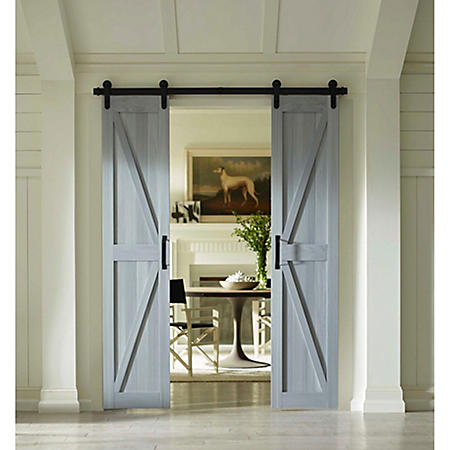 Four Seasons Outdoor Products Split Barn Door, Charleston Grey Board and Batten (Select Sizes)
