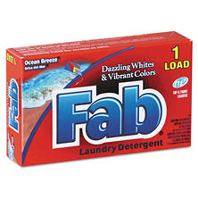 Fab Dispenser-Design HE Laundry Detergent Powder, Ocean Breeze, 1 oz. box (156 ct.)