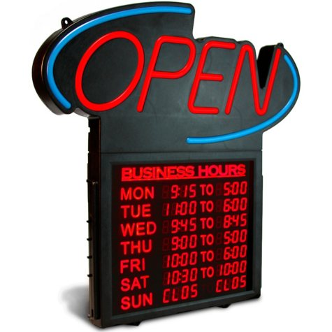 "Business Hours 20"" OPEN Sign"