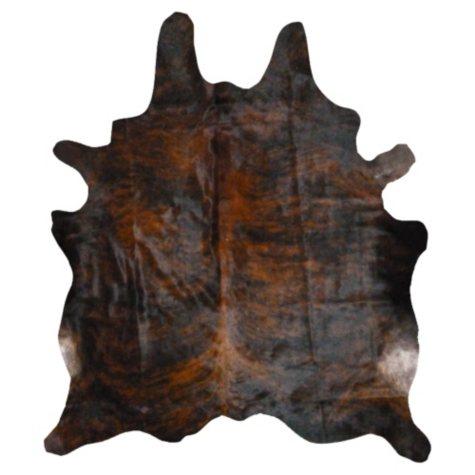 Decohides Real Cowhide Rug, Dark Brindle