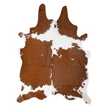 Decohides Real Cowhide Rug, Brown and White