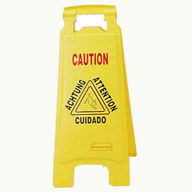 "Rubbermaid Floor Sign Multi-Lingual ""Caution"""
