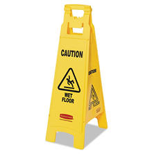 "Rubbermaid Commercial ""Caution Wet Floor"" Multi-Lingual, 4 Sided, Safety Sign"