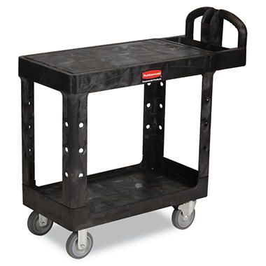 Rubbermaid Flat Shelf Utility Cart, Black (Choose Your Size)