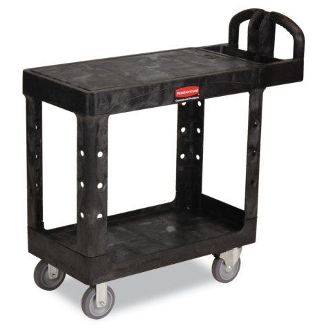 Rubbermaid Flat Shelf Utility Cart, Black (Choose Your Size)
