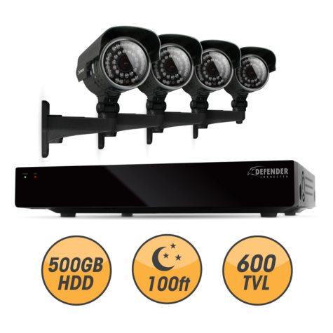Defender Connected 4Ch 500GB DVR with 4 x 600TVL 100ft Night Vision Indoor/Outdoor Surveillance Cameras