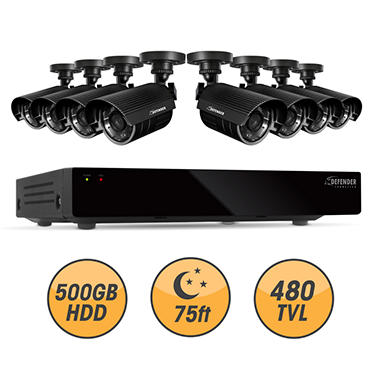Defender Connected 8Ch 500GB DVR with 8 x 480TVL 75ft Night Vision Indoor/Outdoor Surveillance Cameras