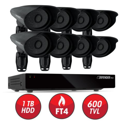 Defender 8 Channel Security System with 1 TB Hard Drive, 8 600TVL High-Res Outdoor Cameras, 110' Night Vision