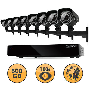 Defender 16 Channel Security System with 500GB Hard Drive, 8 600TVL High-Res Outdoor Cameras, 100' Night Vision