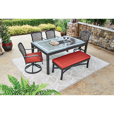 Attractive St. Peterburg 6 Piece Dining Set With Bench