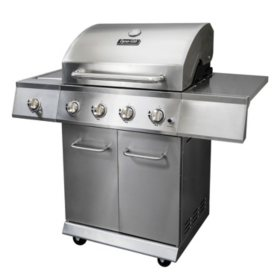 Dyna-Glo Stainless Steel 52,000 BTU 4-Burner LP Gas Grill with Side Burner