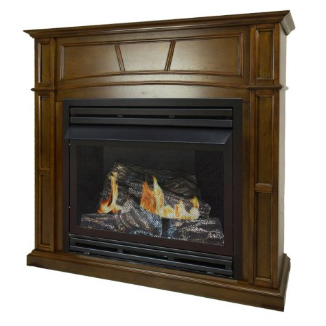 """Pleasant Hearth VFF-PH32DR-H 32,000 BTU 46"""" Full-Size Heritage Vent-Free Fireplace System"""