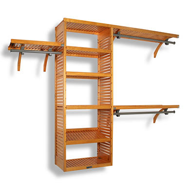 Solid Wood Honey Maple Walk-In Closet Organizer - Honey Maple