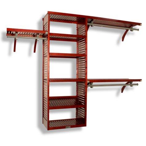 John Louis Home Solid Wood Walk-In Closet Organizer - Mahogany