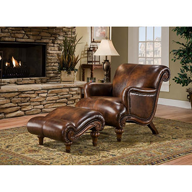 Monroe Leather Chair U0026 Ottoman