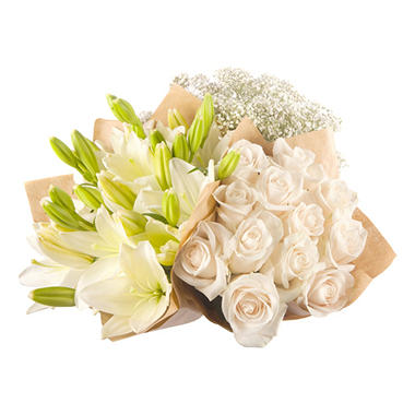 Mixed Farm Bunch - White Roses, Lilies, Gypsophila (96 stems)