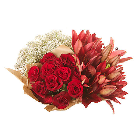 Mixed Farm Bunch - Red Roses, Lilies, Gypsophila (96 stems)
