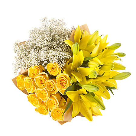 Mixed Farm Bunch - Yellow Roses, Lilies, Gypsophila (96 stems)