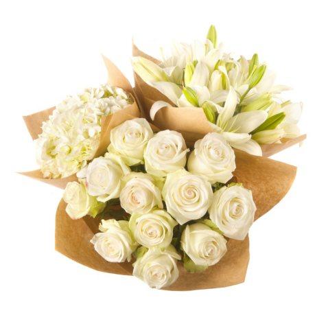 Build Your Own Bouquet - White Roses, Lillies, Hydrangeas (76 stems)