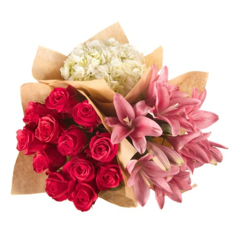 Build Your Own Bouquet - Hot Pink Roses, Lillies, Hydrangea (144 stems)