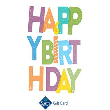 Sams Club Happy Birthday Text Gift Card Sams Club