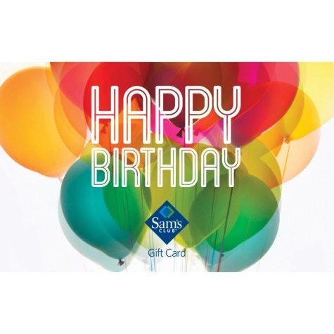 Sam's Club Happy Birthday Balloons Gift Card