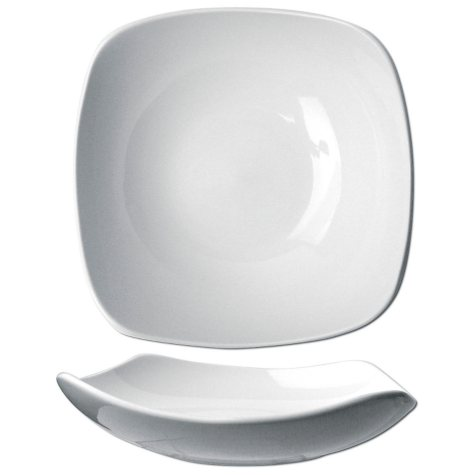 "Quad 8 1/2"" 18 oz. Porcelain Square Plate - 24 pk."