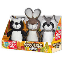 Happy Tails Plush Pet Toys, Woodland Critters or Ruff Rascals