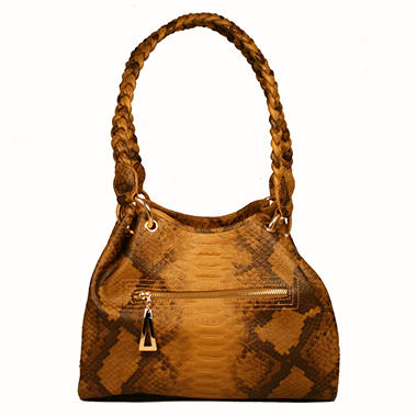Isabella Adams Kelly Leather Oak Python Embossed Tote
