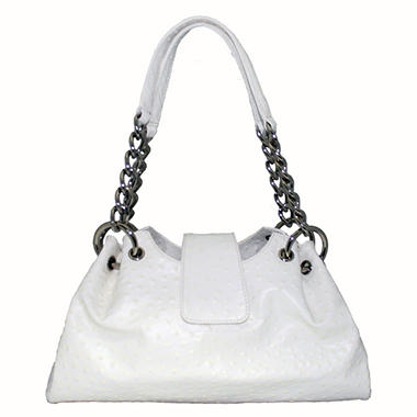 Isabella Adams Ostrich Embossed Leather Rebecca Bag - White
