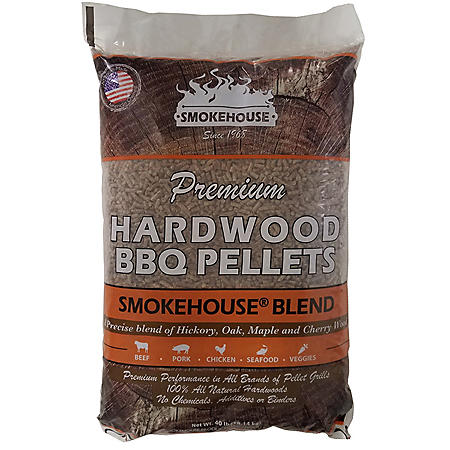 Premium Hardwood BBQ Pellets, Smokehouse Blend - 40 lbs.