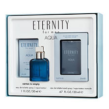 Calvin Klein Men Eternity Aqua 1.0 oz. and Aqua Pocket Spray Gift Set