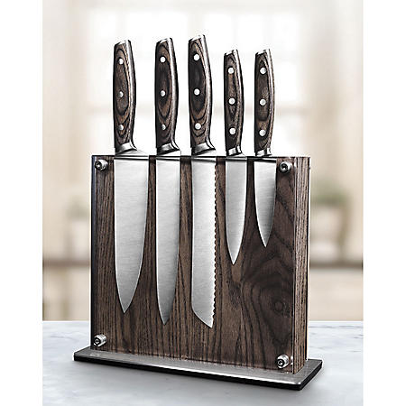 Art and Cook 6-Piece Ash Wood Knife Set with Magnetic Block