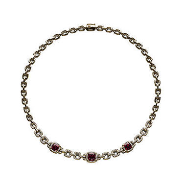 5.46 ct. t.w. Rhodolite & 1.12 ct. t.w. Diamond Necklace