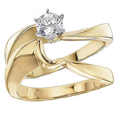 .50 ct. Curved Solitaire Diamond Wedding Set in 14K Yellow Gold (H-I, I1)