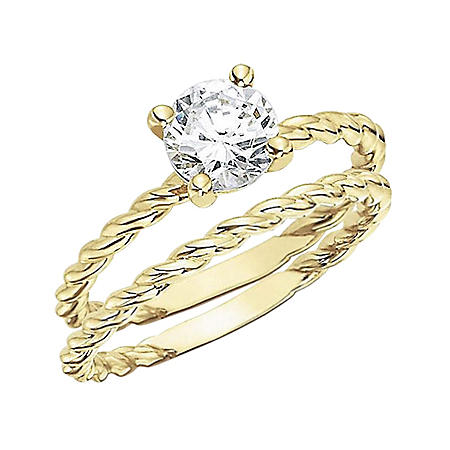 0.50 CT. Diamond Solitaire Twisting Band Engagement Set (H-I, I1)