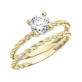 0.50 CT. Diamond Solitaire Twisting Band Engagement Set (H-I, I1)