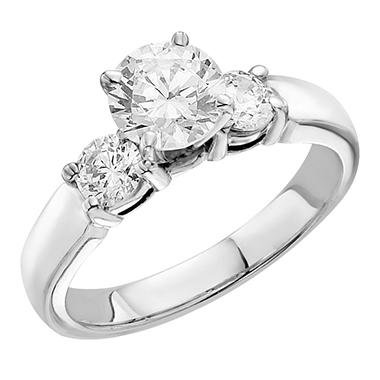 1.00 CT.T.W. Three Stone Engagement Ring in 14K White Gold (H-I, I1)