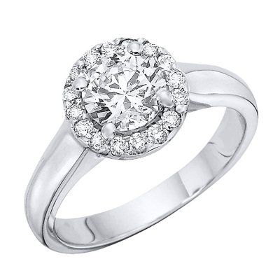 100 CTTW Heavenly Halo Diamond Solitaire Ring in 14K White