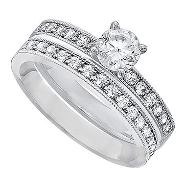 1.00 CT.T.W. Diamond Wedding Set in 14K White Gold (H-I, I1)
