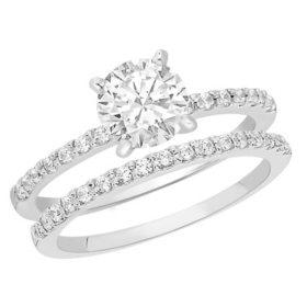 1.10 CT.T.W. Shared Prong Diamond Wedding Set in Platinum (H-I, I1)