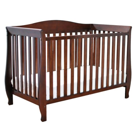 AFG Waverly 4-in-1 Convertible Crib with Guardrail, Espresso
